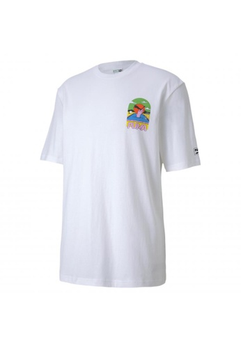 Puma white Downtown Graphic Men's Tee EA08FAADEE54A4GS_1