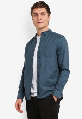 Burton Menswear London blue Long Sleeve Mid Blue Oxford Shirt BU964AA0RSIGMY_1