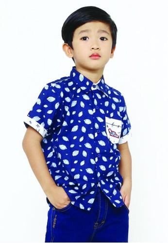 YEGE navy YeGe Kemeja Anak Junior Lengan Pendek Navy E5AEBKA6F47C46GS_1