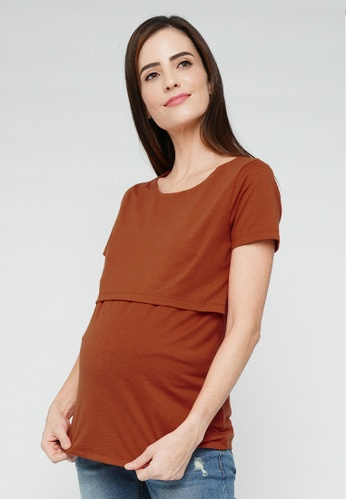 9months Maternity brown Brown S/S Nursing Top 78F57AA80263F0GS_1