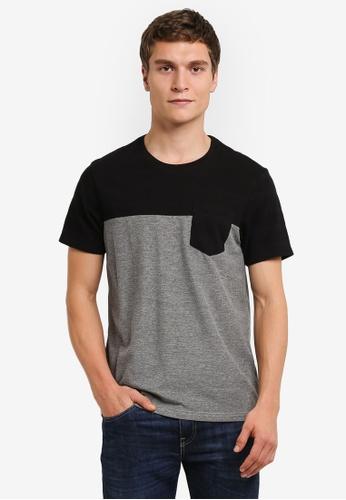 Burton Menswear London black and grey Black Popcorn Pique Cut And Sew T-Shirt BU964AA0RSIOMY_1