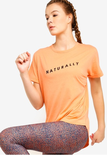 Cotton On Body orange Dropped Shoulder Slogan T-Shirt 39C30AAE110A73GS_1