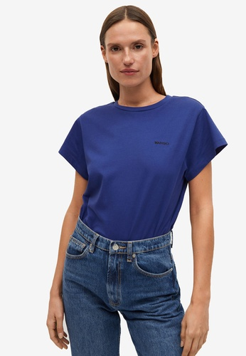 Mango blue Logo Organic Cotton T-Shirt 717C1AAAD8F671GS_1