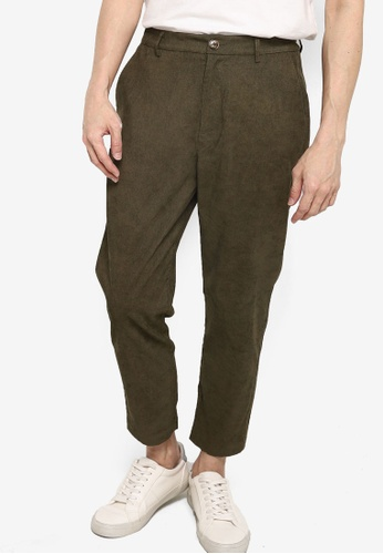 ZALORA BASICS green Corduroy Hidden Drawstring Pants DEAAEAA9FEC774GS_1