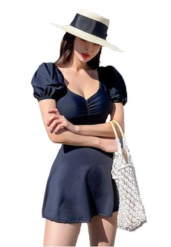 Halo 黑色 (兩件套)黑色修身連體泳衣連短裙 875E9US2747FDFGS_1
