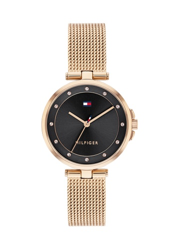 Tommy Hilfiger Watches black and gold Women's Ionic Plated Carnation Gold Steel Mesh Bracelet and Black Dial Quartz Watch 2F442AC0708743GS_1