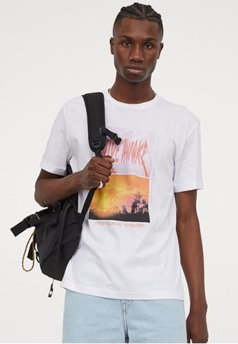 H&M white Printed T-Shirt B3B5DAA6975095GS_1