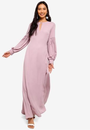 ZALORA pink Puffed Sleeves Maxi Dress 1B882AA15696ADGS_1