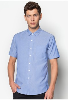 Short Sleeve Shirt With Button Under Collar