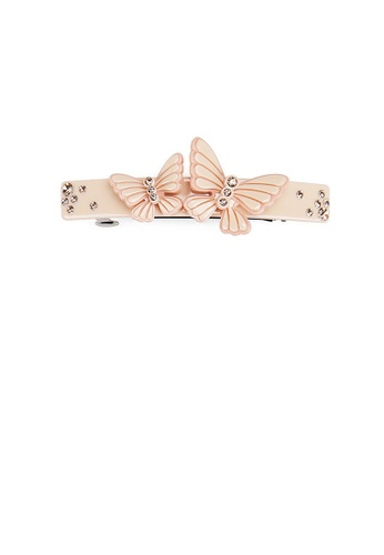 Glamorousky silver Fashion and Elegant Pink Double Butterfly Hair Slide with Cubic Zirconia 9E0C9ACA597F43GS_1