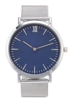 Round Face Silver Blue Mesh Strap Watch