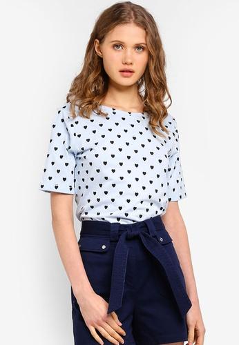 ESPRIT blue All Over Heart Short Sleeve T-Shirt 839CCAACE7F1D6GS_1