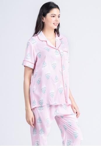 FEMINISM blue Cotton Shortsleeve Pajama CCB8AAA4035E99GS_1
