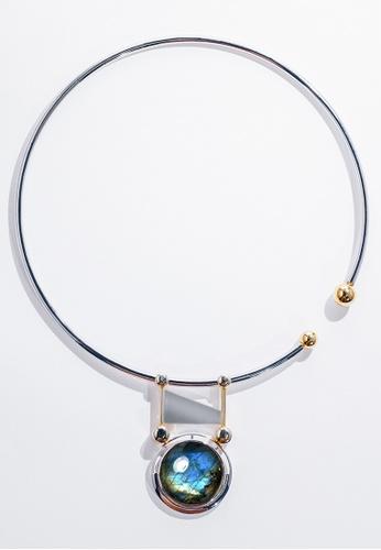 Paradeisos Jewellery blue and silver and gold Delphi Natural Labradorite Circular Elastic Choker PA467AC0GHU9SG_1