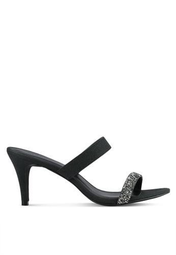 VINCCI black Glitter Strap Heels VI831SH0RZL4MY_1