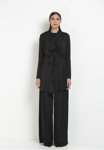 ITALYIAN CARDIGAN AND PANTS from RohsMalaysia in Black
