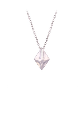 Glamorousky silver 925 Sterling Silver Simple Personality Three-dimensional Geometric Diamond Pendant with Necklace C86E2AC7A37A5AGS_1