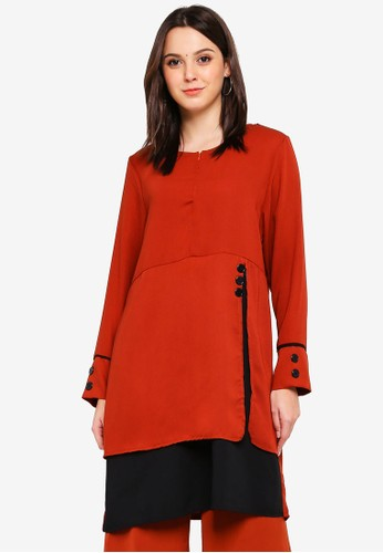 BYN orange Piping Detail Blouse 215F5AAFABEEA0GS_1