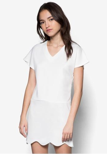 扇貝邊飾短袖連身裙,esprit outlet 桃園 服飾, 洋裝