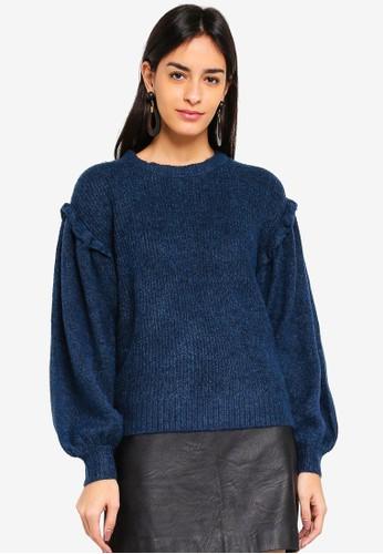 Vero Moda blue Blumi Balloon O-neck Sweater 10275AA37B1AFBGS_1