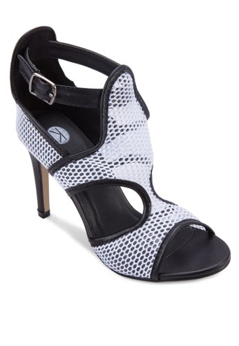 Minx 撞色網眼鏤esprit高雄門市空細跟涼鞋, 女鞋, 鞋