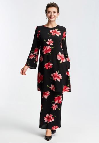 Era Maya black Vivid Grand Floral Prints Baju Kurung Cotton Crepe 89C73AAB490FF5GS_1