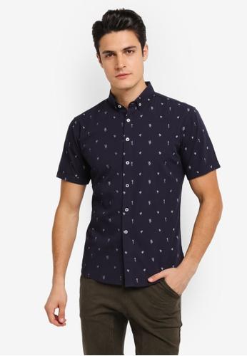 JAXON navy Nature Small Motif Short Sleeves Shirt 71E50AAC45FC45GS_1