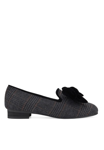 SPUR grey Check tied with ribbon flats FF912SHA7E6A31GS_1