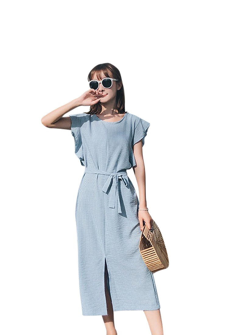Blue Blue Short One Piece Sunnydaysweety New Sleeves Dress 2018 CA062958BL AqgxzFnwq