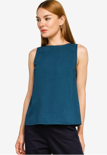 ZALORA WORK green Shell Top With Pocket D9010AAEF2CFF1GS_1