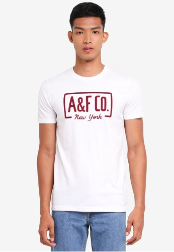 Abercrombie & Fitch white Brand Logo T-Shirt C866AAA0AFC737GS_1