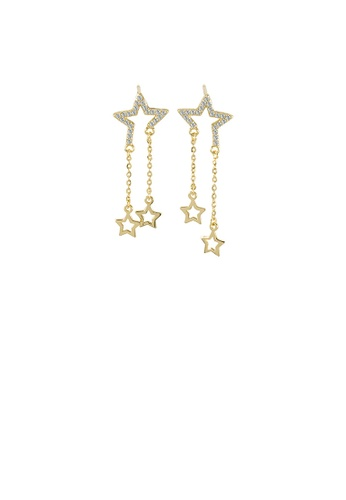 Glamorousky white 925 Sterling Silver Plated Gold Fashion Temperament Star Tassel Earrings with Cubic Zirconia 9CBFEAC89F84B6GS_1