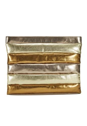 My Flash Trash gold Quilted Metallic Clutch Bag 92BEEACD2A8414GS_1