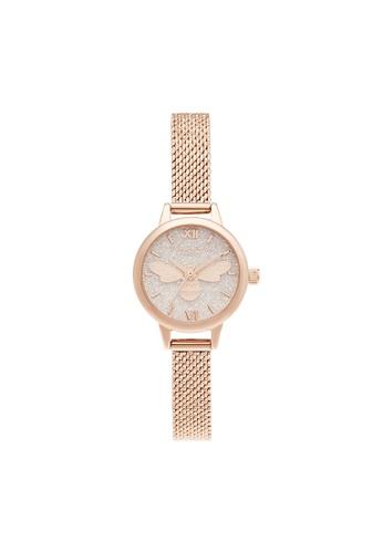 Olivia Burton 粉紅色 Olivia Burton Glitter Dial Blush Glitter & Bee Women's Watch (OB16FB15) 3F079AC69F0F02GS_1