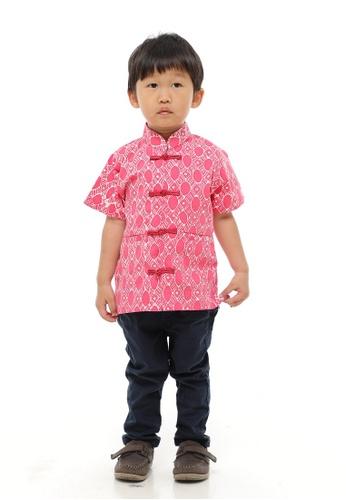 AYAYU white and red ONGLAI CNY Traditional Boy Top Samfu Soft Cotton Batik 14236KA7284C33GS_1
