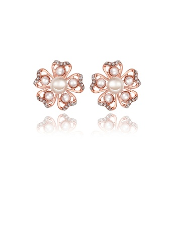Glamorousky white Elegant Romantic Sweet Rose Gold Plated Flower Non Natural Pearl Earrings Ear Studs B1AB0ACE23DA58GS_1