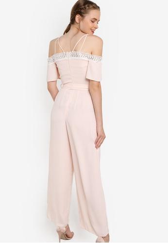 5298cdc6f7cd Buy Miss Selfridge Premium Pink Lace Cold Shoulder Jumpsuit