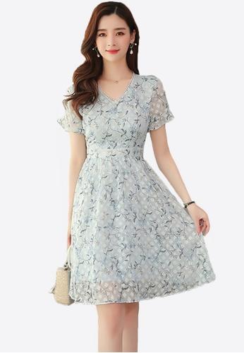 Halo blue Floral Printed Chiffon Dress E2B68AAFF56E2BGS_1