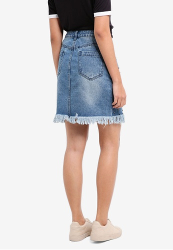 Shop Something Borrowed Embellished Denim Skirt Online on ZALORA Philippines