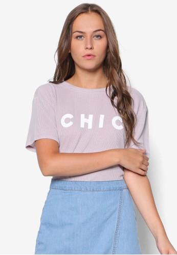 Chiesprit暢貨中心c 文字印花羅紋T 恤, 服飾, 上衣