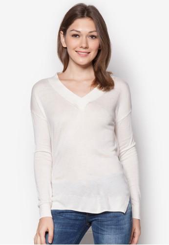 V zalora taiwan 時尚購物網鞋子領素色長袖衫, 服飾, 外套