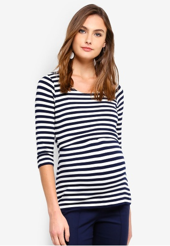 a74a36782f2 Seraphine navy Laina Maternity 3/4 Stripe Nursing Top 041FFAAB2D6567GS_1