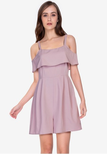 ZALORA WORK pink Square Neck Pleated Playsuit 7E489AAA16038BGS_1
