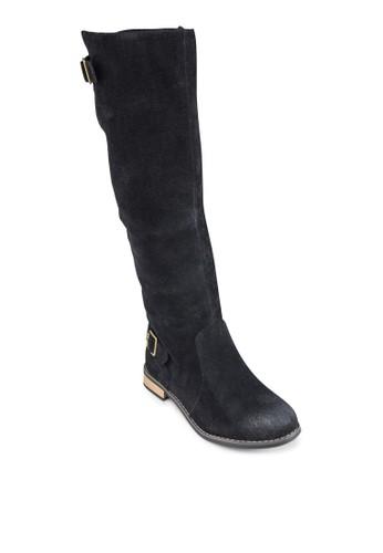 麂皮扣環長筒靴, 女鞋, zalora 鞋評價鞋
