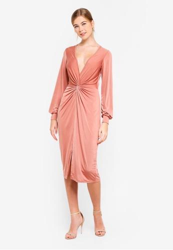 Miss Selfridge 粉紅色 Twist Front Bodycon Midi Dress C1667AA925615EGS_1