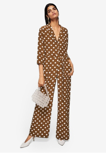 Mango brown Polka-Dot Long Jumpsuit 51B70AA6C8A171GS_1