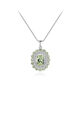 Glamorousky green 925 Sterling Silver Fashion Simple Geometric Oval Olive Green Cubic Zirconia Pendant with Necklace EB153AC9A16975GS_1
