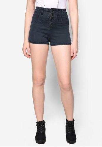 Esther 單排扣高zalora開箱腰丹寧短褲, 服飾, 短褲