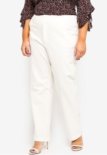 Ex'otico white Plus Size Basic Trouser 65983AABF2C867GS_1