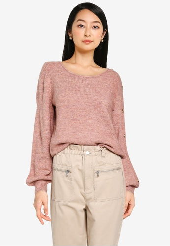 JACQUELINE DE YONG pink Elanor Long Sleeve Button Knit Pullover 36040AAE4B4959GS_1